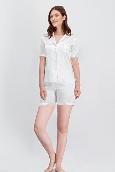 Arnetta Arnetta Basic Ekru Kadın Saten Şort Gömlek Pijama Ekru
